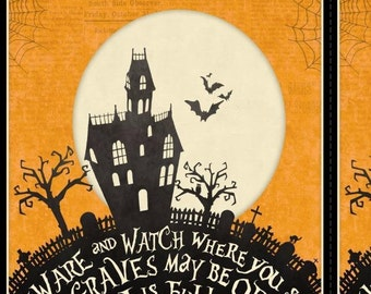 """Come Sit A Spell Halloween Graveyard Haunted House Wilmington Fabric 24"""" Panel"""