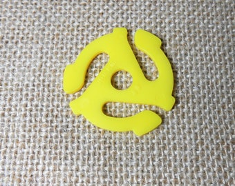 Vintage 45 Adapter Insert, Yellow, Plastic, Spider, Spindle, 45 RPM, Insert For 45 Records