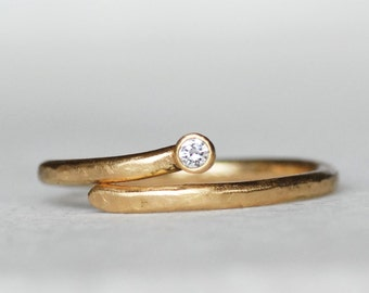Gold and Diamond Wrap Ring - Shooting Star Ring - 18k Yellow Gold  - Eco-Friendly Recycled Gold