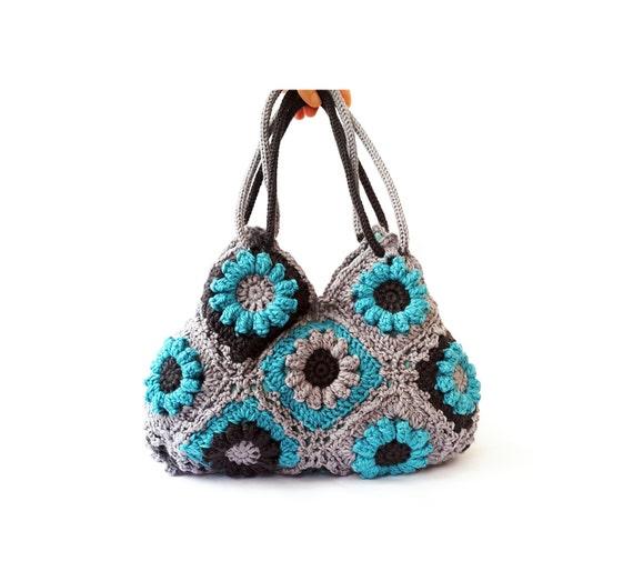 Türkis Blume häkeln Tasche Handtasche Umhängetasche