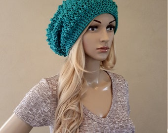 Crochet slouch hat, knitted slouch beanie, teal blue green, extra slouchy knit hat, raised puff design, vegan acrylic yarn, soft and squishy