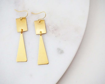 Brushed Gold Geometric Square and Triangle Earrings