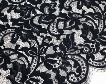 Black lace fabric, French lace, Chantilly lace, Wedding lace, Bridal lace, Evening dress lace, Lingerie lace, fabric by the yard EVS106V