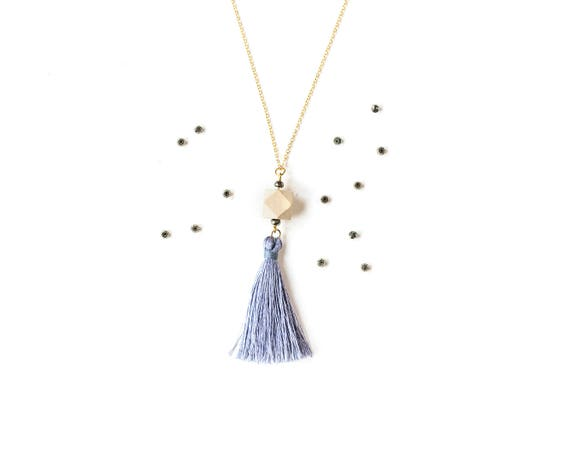 Pyrite Tassel Diffuser Pendant (Gold)