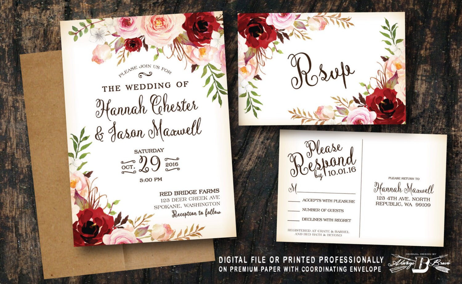 Red blush floral wedding invitation set pink flowers vintage zoom monicamarmolfo Gallery