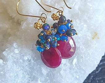 Ruby with Black and Blue Ethiopian Opal Gemstone Cluster Earrings on Gold Vermeil Earwires July Birthstone Goft For Her