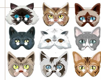 Unique Cats Printable Masks, Cats Photo booth, Pets  birthday, Cats  kids dress up, Cats party, Cats costume, mask paper, animal mask, Diy