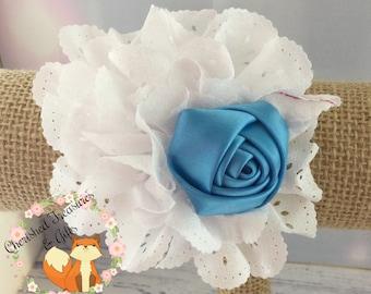White Blue Rose Eyelet Flower Hair Clip