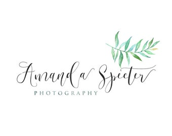 Photography logo, premade logo design, watercolor leaf logo, photographer watermark n068
