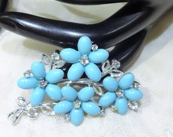 Vintage Lisner Blue Thermoset and Clear Rhinestone Flower Brooch