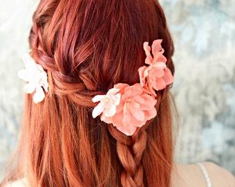 Bridal flower clips, salmon pink floral pins, flower hair pins, flower wedding accessory, hair flowers, bridal hair clip set, hair accesory