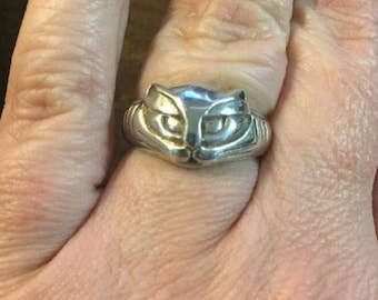 Panther Cat Ring Vintage Siamese Figural Sterling Silver Size 7