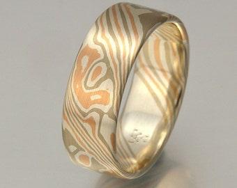 Custom mokume gane ring 14k palladium white gold and silver - woodgrain pattern