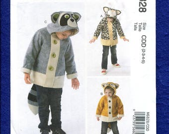 McCall's 6828 Raccoon & Fox Hooded Jacket for Kids Size 2..3..4..5 UNCUT