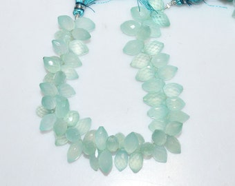 Aqua Chalcedony Dew Drops Briolette-Chalcedony Faceted Beads, Aqua Chalcedony Briolette, 9x5.5 - 12x7 mm - BL559