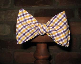 Purple and Gold Tattersall~Cotton Bow Tie~Mens Self Tie Bow Tie~Pretied Bow Tie~LSU Tie~ECU Bow Tie~Wedding Tie~Mens Gifts~Anniversary Gift