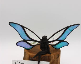 Stained glass fairy on wood base/ feary figurine/ Pixie / light blue iridescend glass