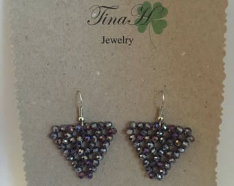 Purple triangle earrings