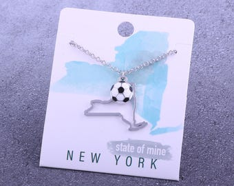 Customizable! State of Mine: New York Soccer Enamel Necklace - Great Soccer Gift!