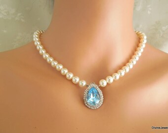 Bridal necklace, pearl rhinestone necklace,  wedding rhinestone necklace, something blue necklace, Swarovski crystal necklace, ANAIS