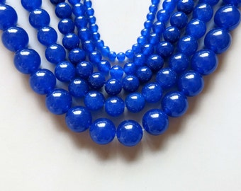 Full Strand 15inches Blue Chalcedony Round Beads - A481