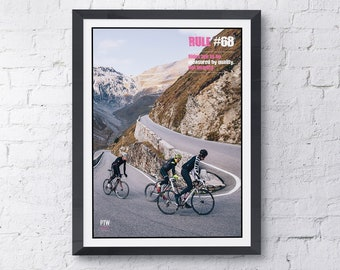 """Cycling motivational print poster Rule #68 """"its about quality not quantity"""""""