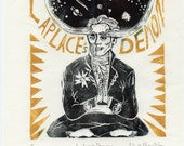 Laplace's Demon Linocut - History of Science, Imaginary Friend of Science Collection, Pierre-Simon Laplace, Mathematics Physics Daemon Space