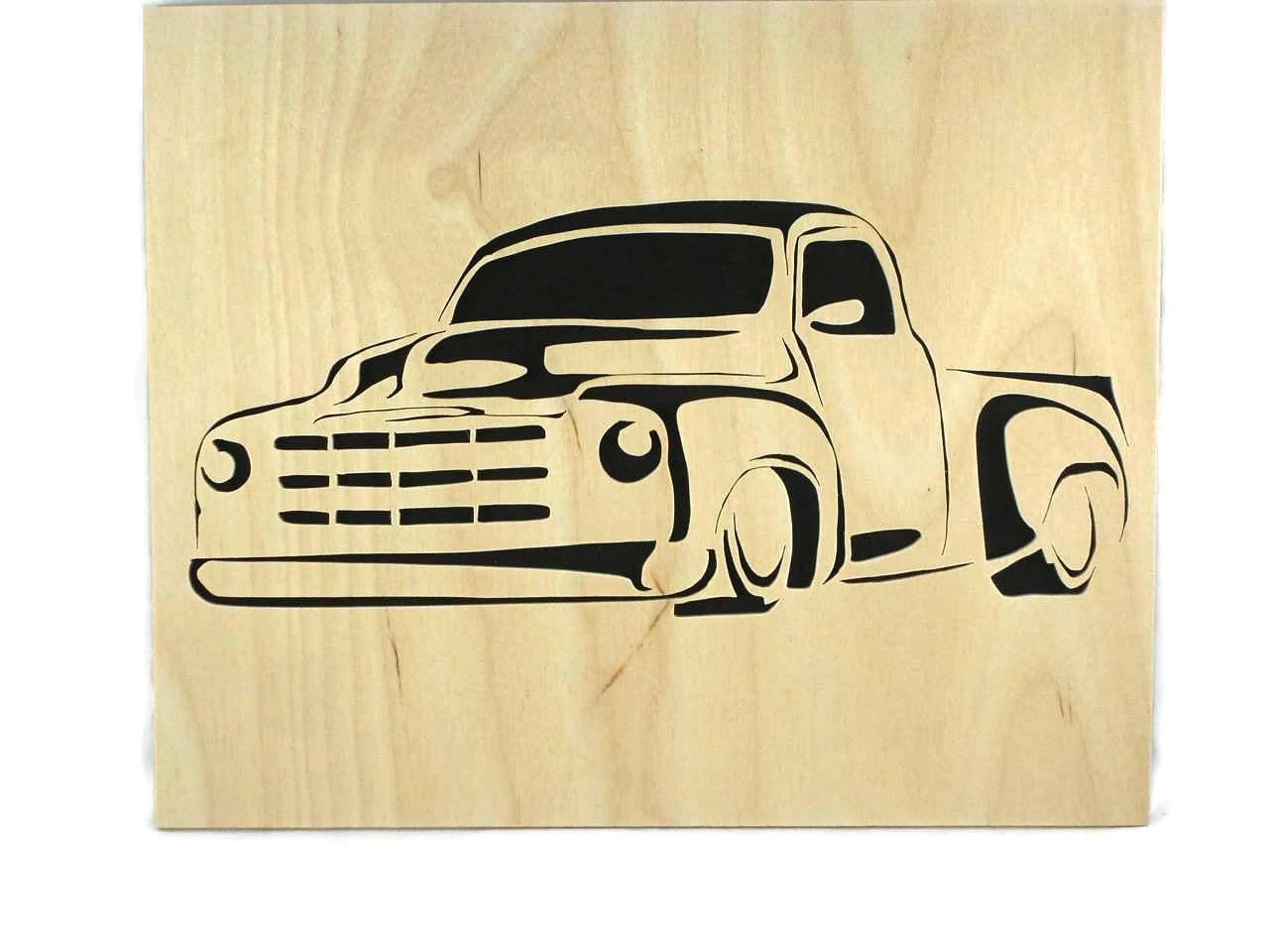 Vintage Truck 8 x 10 Wood Art Portrait Handmade From Birch