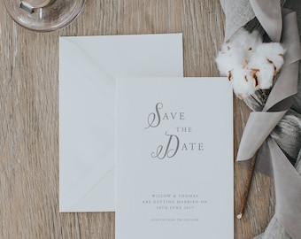 Rustic Romantic Save the Date Cards. Printed Save the Date Cards. Simple and Stylish Save the Date Card.