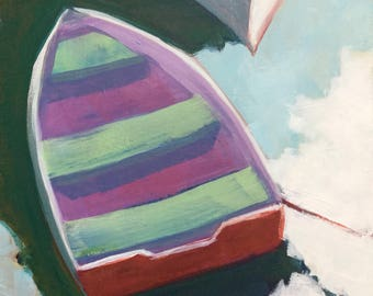 Butterflies in my Brain original 8x8 inches acrylic painting of a small purple dinghy tied in the harbor by Maryland artist Barb Mowery