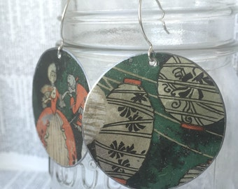 Upcycled large tin earrings made from a vintage courting biscuit tin