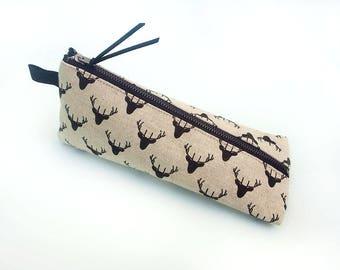 Pencil pouch, Pencil case, Black deer fabric pen bag, Trousse, Animal print pouch, Modern school supply, Pen case for teens