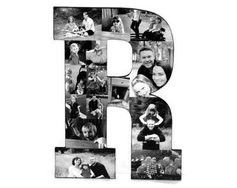Photo Collage Letter, Wood Large Letter