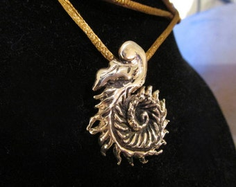 Solid Bronze,  Fern Pendant, Bronze necklace, Leaf, Nature , organic spiral, Necklace