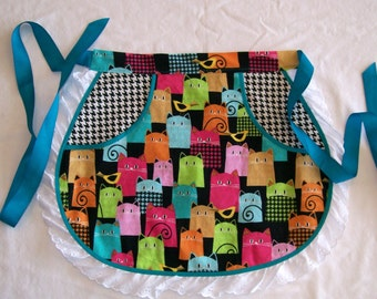 Colorful Cats Round Half Apron with Lace - Multi Color Cat Apron - Girl Size 7 to 8