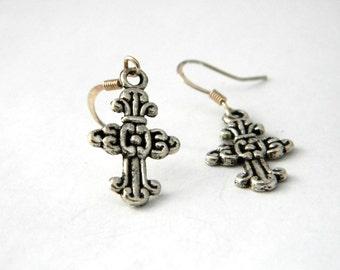 Cross Earrings Silver Color Cross Earrings Dangle Earrings