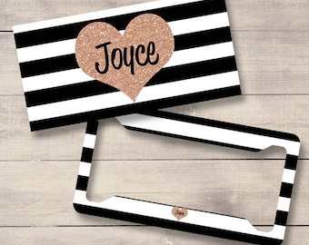 Black, White and Rose Gold Striped Car Tag, Monogram License Plate and Frame, Personalized for Teenage Girls, Faux Glitter (0036)
