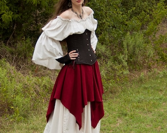 Roman Red Linen Pixie Skirt - Womens Renaissance Clothing - Halloween Costume - Ren Faire Garb - Pirate Costume - Medieval Clothing
