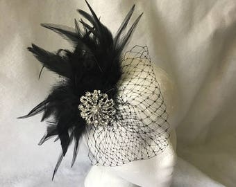 Black Feather Fascinator, Black Feather headpiece, Gatsby flapper headpiece, black bridal feather headpiece
