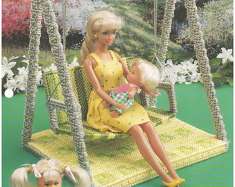 1998 - Yard Swing Annie's Fashion Doll Plastic Canvas Club Pattern 11 1/2 Doll Outdoor Chair Swing Furniture Accessories Doll House
