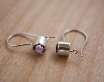Amethyst and sterling silver earring / amethyst / earrings / hook earring / earring / women earring / stone earring / safe earring/purple