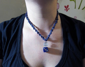 Sparkly Purple Hemp Necklace With 6-Sided Die Pendant