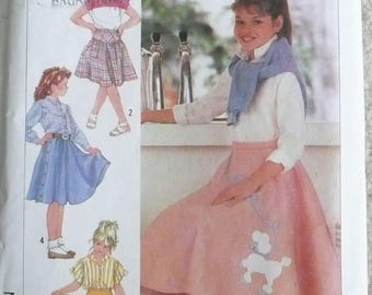 Simplicity 7269, Girl's Poodle Skirt Pattern, Girls Circular Skirt Pattern, Girls Pleated Skirt Pattern, Size 10-14, Uncut & Factory Folded