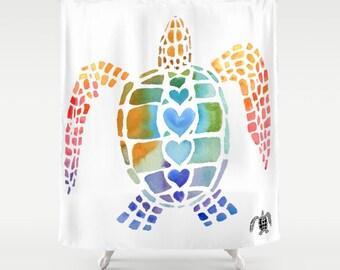 Colorful Sea Turtle Shower Curtain - Hug a sea turtle -  Surf, beach, surfer, Bold graphic coastal