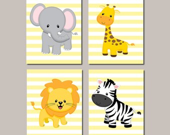 Safari Animals Nursery WALL ART, Prints Or Canvas, Elephant Giraffe Lion Zebra, Baby Boy Nursery Decor, Nursery Pictures, Set of 4