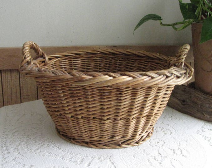 Small Laundry Basket Handled Gathering Trug Vintage Farmhouse Rustic Home and Garden Décor