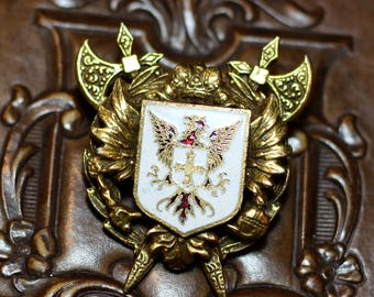 Vintage Brass Heraldic Brooch / Pin, Coat of Arms, Guilloche Enamel, Griffin Shield Crown Axe, Unsigned Designer CORO, 1940s Jewelry crest
