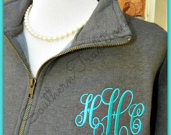 Monogram Quarter zip - Monogram Fleece Jacket - Monogram Fleece Pullover - Personalized Fleece Jacket