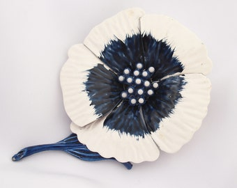 Vintage 1960s Brooch Enamel Flower Power Oversized Pin Retro Estate Blue and White Jewelry