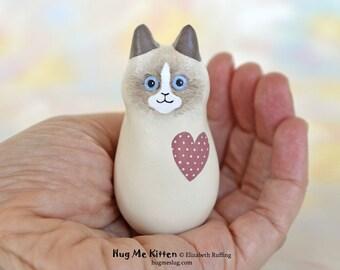 Handmade Kitty Cat Figurine, Miniature Sculpture, Bi-color Ragdoll, Mauve, Hug Me Kitten, Animal Good Luck Cat Charm, Personalized Tag